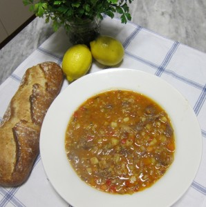 Lamb shank and barley soup